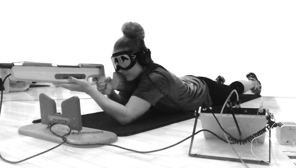 Kelsey Bocken using an audio rifle.